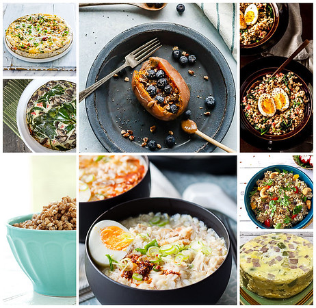 Collage of photos showing savory breakfasts made in the instant pot.