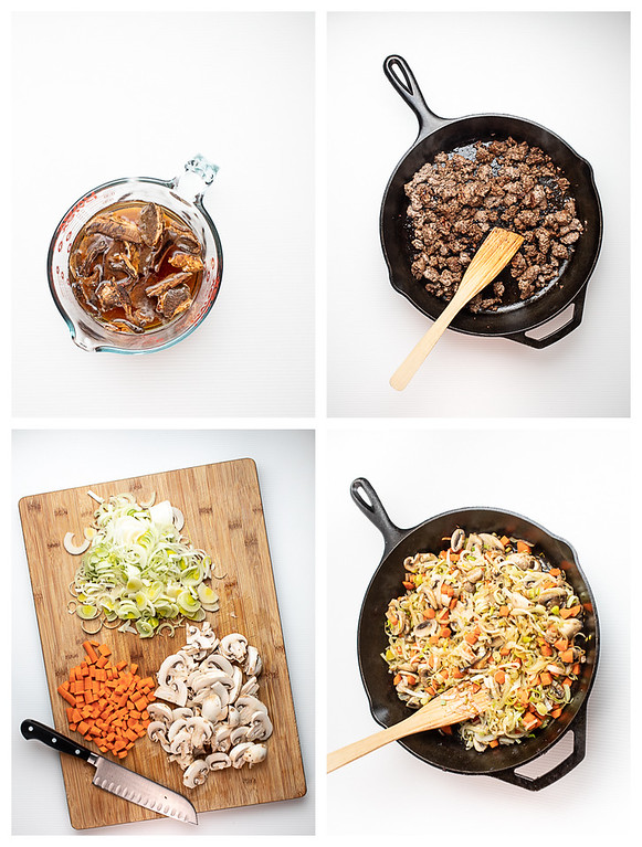 Photo collage showing the first four steps for making beef barley and mushroom soup.