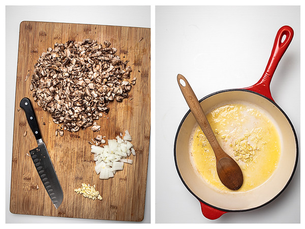 Photo collage showing the first two steps for making this ragu.