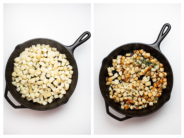 Partially cooked potatoes in a skillet and completely brown potatoes in next photo.