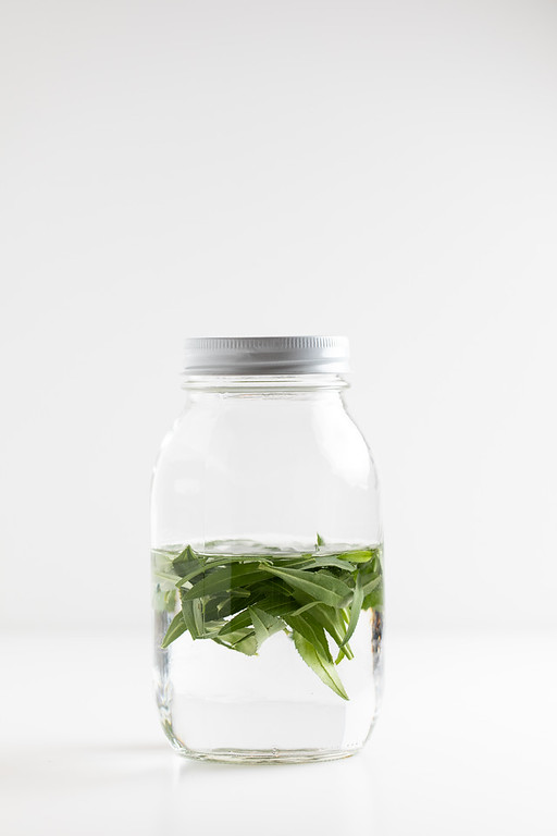 Jar of vinegar with tarragon leaves in it.