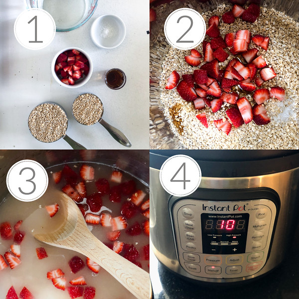 Photo collage showing the first four steps for making strawberry steel cut oats