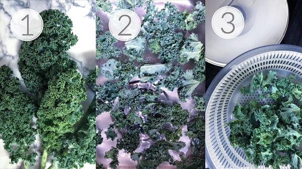 Photo collage showing the first three steps for making a kale blueberry salad.