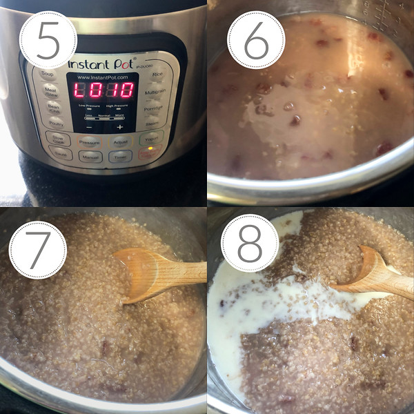 Photo collage showing the last 4 steps for making strawberry steel cut oats.