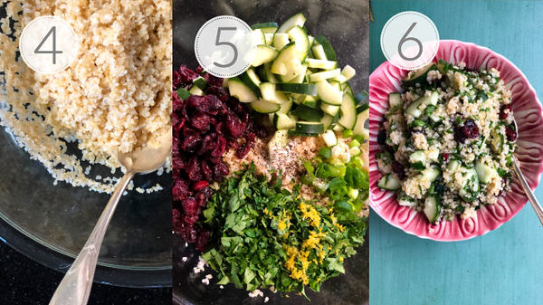Photo collage showing steps 4, 5, and 6 for making Mediterranean Bulgur Salad