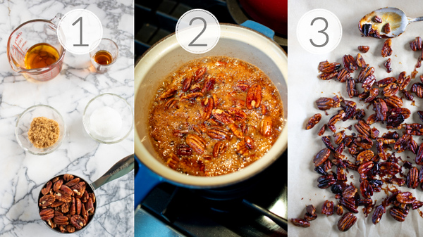 Photo collage showing the 3 steps to make Bourbon Candied Pecans
