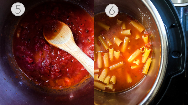 Two photos showing steps 5 and 6 for making pasta in the Instant Pot.