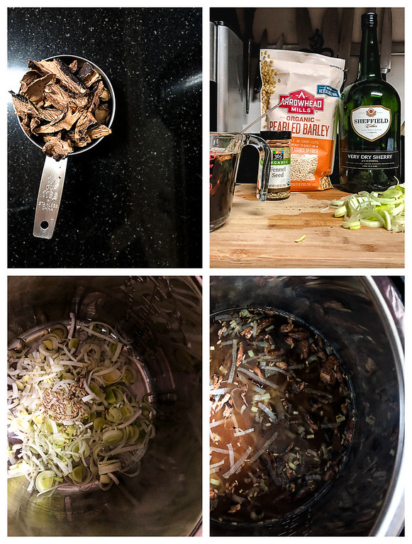 Photo collage for the first four steps for making risotto: mushrooms, gathering ingredients, sauteing leeks and fennel seeds, adding barley and sherry.