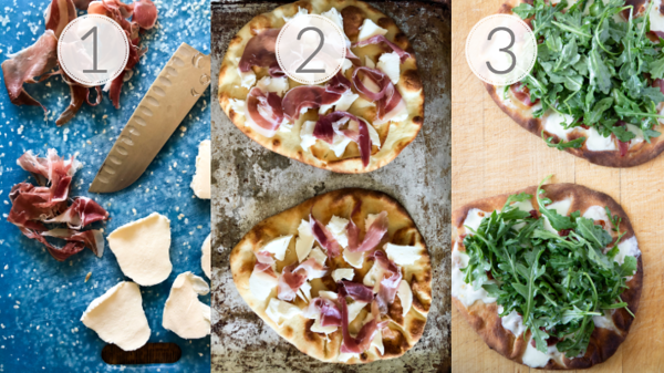 Photo collage showing the steps for making prosciutto flatbread pizza.