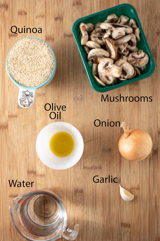 Ingredients to make quinoa pilaf.