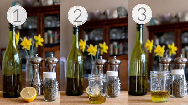 photo collage showing the first 3 steps for making a homemade Greek Vinaigrette.