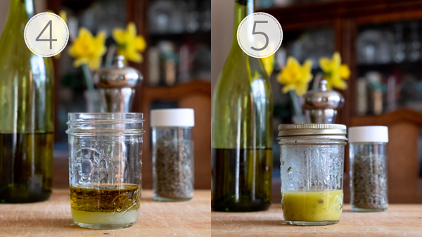Photo collage showing steps 4 and 5 for making a Greek vinaigrette.