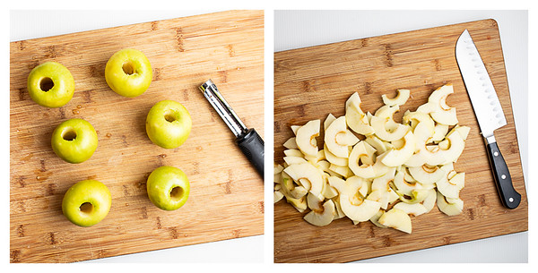 Photo collage showing apples being cored, peeled and sliced.