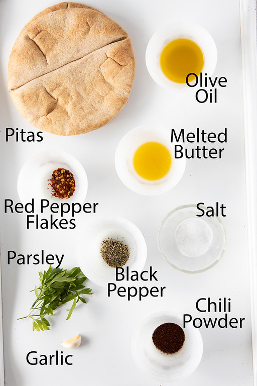 Top down photo showing the ingredients needed to make homemade pita chips.
