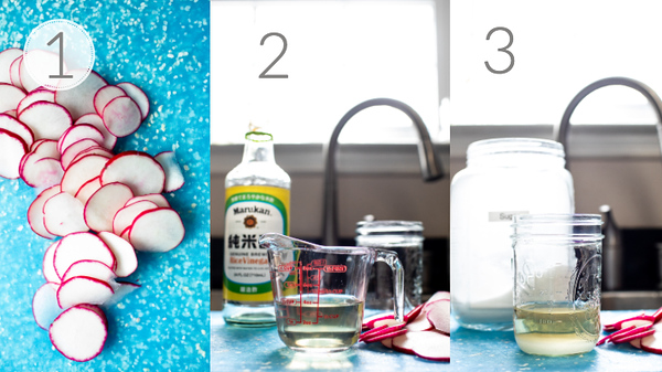 Step by step photos for making quick pickled radishes.