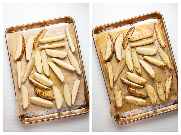 Photo collage showing potato wedges on sheet pan before and after roasting.