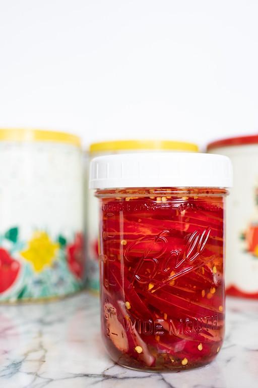 Jar of quick pickled radishes.