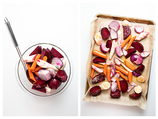 Collage showing bowl of vegetables and then vegetables on a sheet pan.