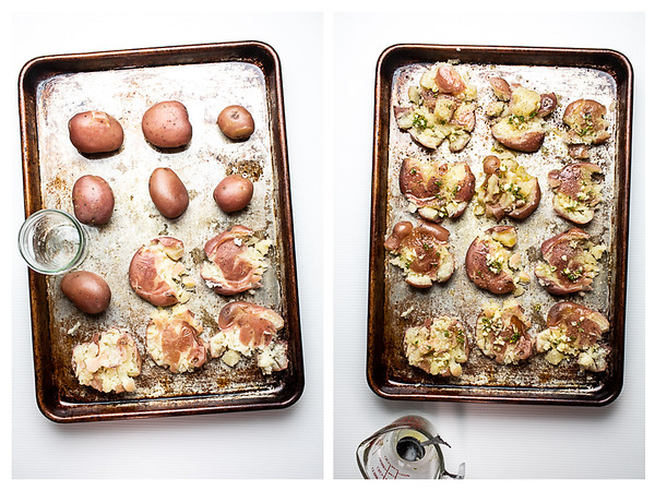 Two photos showing how to smash potatoes for crispy smashed potatoes.