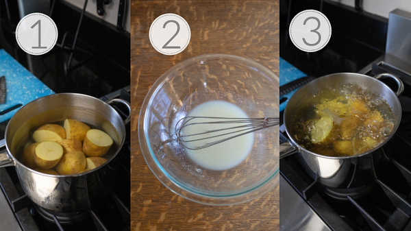 Photo collage showing the first 3 steps for making a French Potato Salad