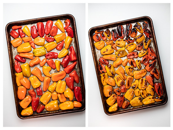 Two photos showing mini peppers before and after roasting.