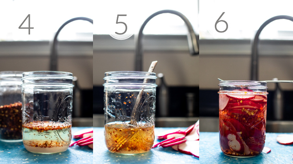 Photo collage showing last 3 steps for making quick pickled radishes.