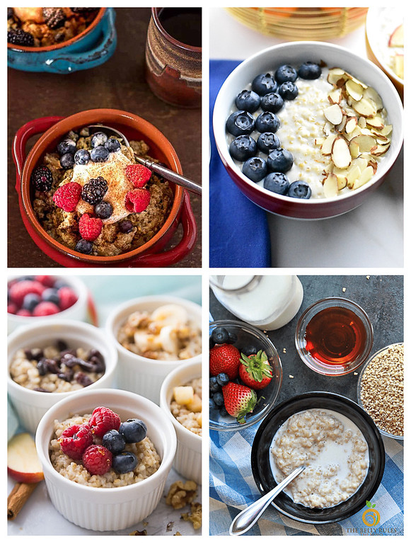 Collage of 4 photos of steel cut oats made in an instant pot.