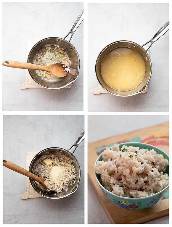 Photo collage showing the four steps to making Parmesan rice.