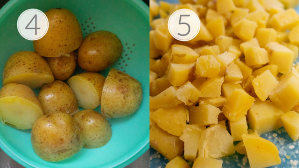 Steps 4 and 5 for making a French Potato Salad