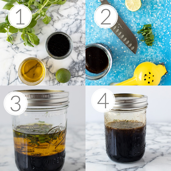 Photo collage showing step by step how to make basil vinaigrette