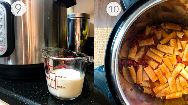 Photo collage of steps 9 and 10 for making this Instant Pot Recipe