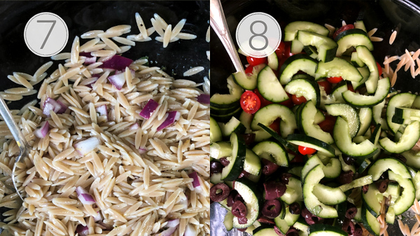 Steps 7 and 8 for making Greek Orzo Salad.