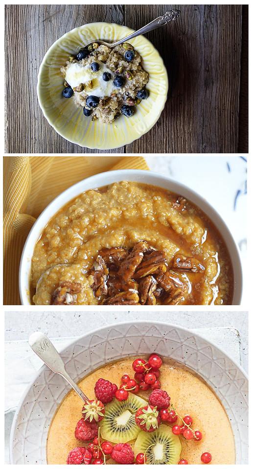Collage of instant pot porridge photos.