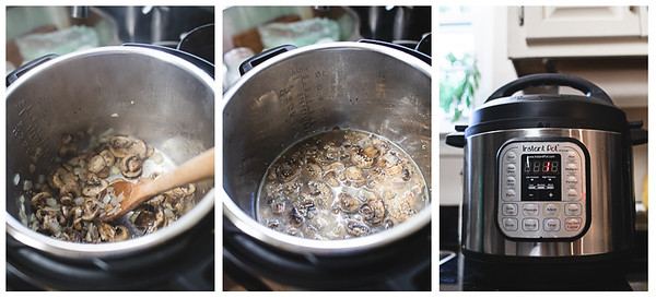 Photo collage showing the steps for making Instant Pot Quinoa Pilaf.