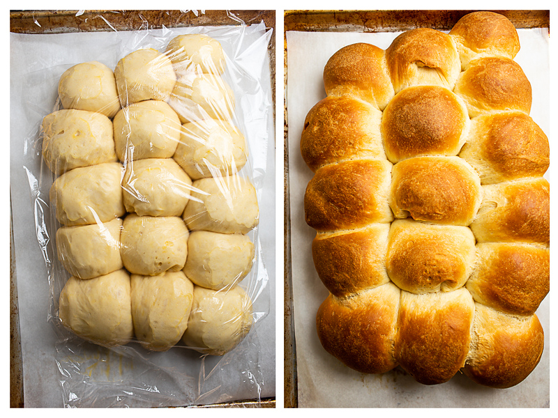 Photo collage showing rolls after rising and then after baking.