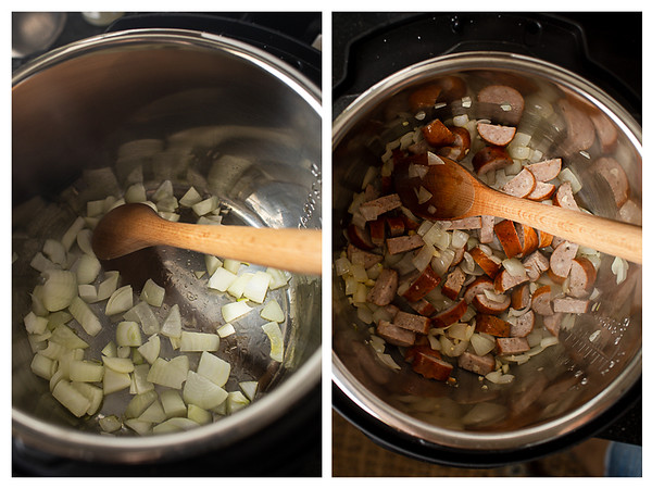 Photo collage showing onions and sausage added to Instant Pot.