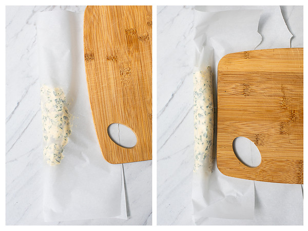 Photo collage showing compound butter being shaped into a log.