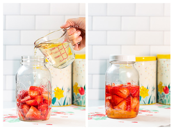 Photo collage showing vinegar being poured over strawberries and then a lid on the jar.