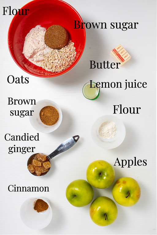 Flour, brown sugar, oats, butter, lemon juice, brown sugar, candied ginger, apples, and cinnamon.