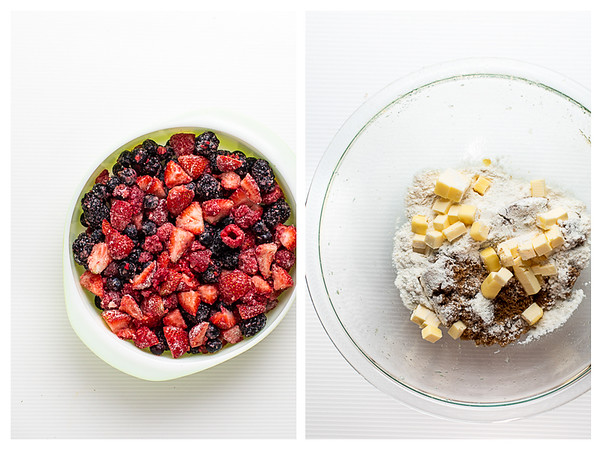 Photo collage showing berries in a casserole and another bowl with flour, sugar and butter cut into pieces.