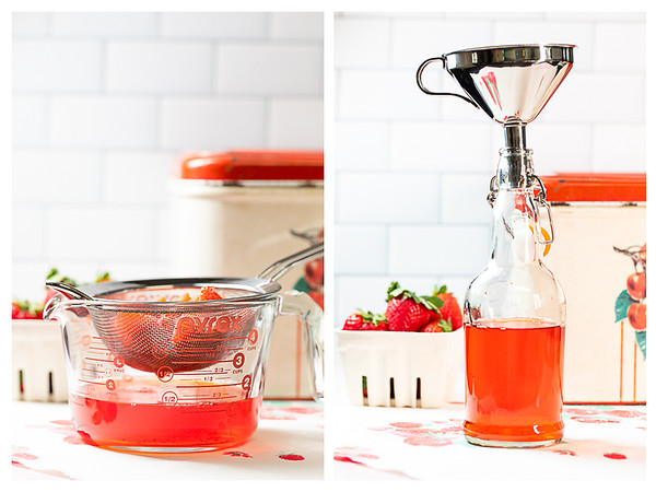 Straining the strawberries and pouring into lidded bottle.