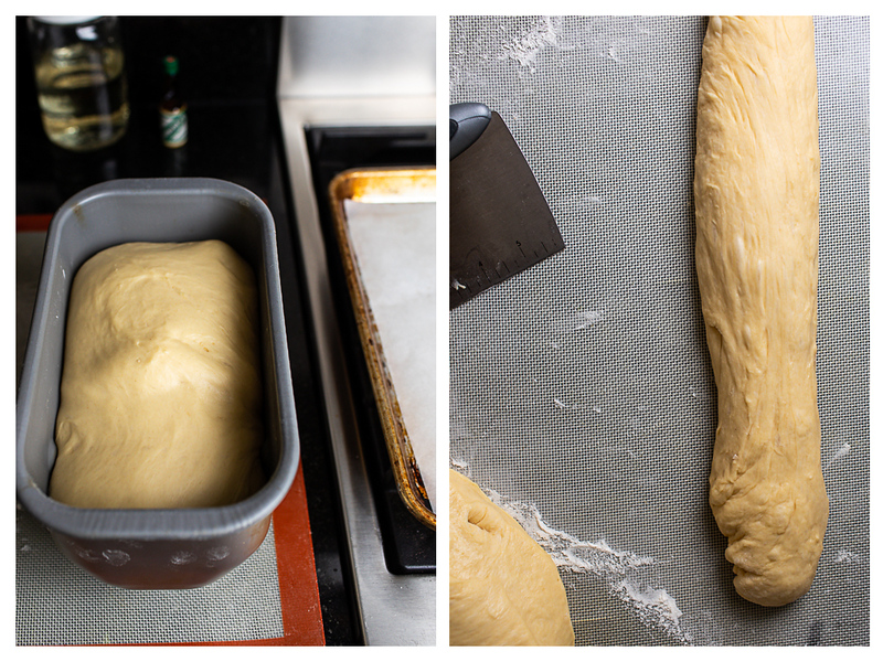 Photo collage of dough in bread machine pan and dough stretched out.