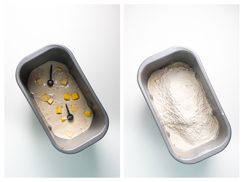Photo collage showing starter and butter in a bread pan and flour.