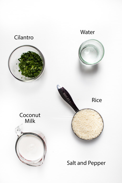 Cilantro, water, coconut milk, rice.