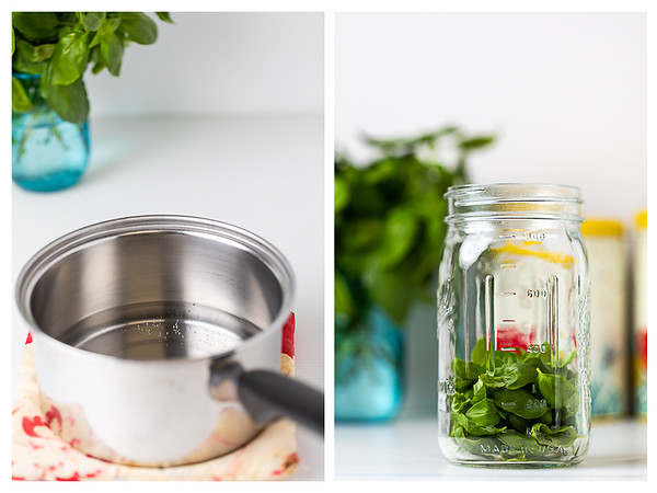 Photo collage showing vinegar heated in a pot and basil leaves in a mason jar.