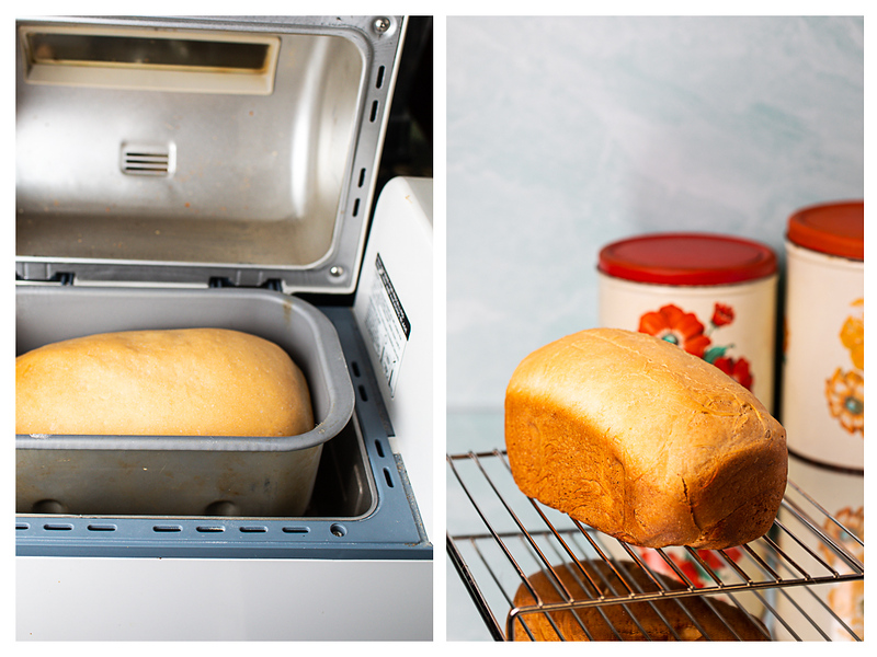 Photo collage showing bread in bread machine and cooling on a rack.