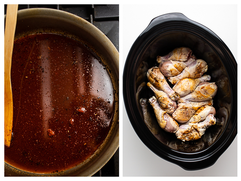 Photo collage showing a deep red liquid in a skillet and chicken legs in a slow cooker.