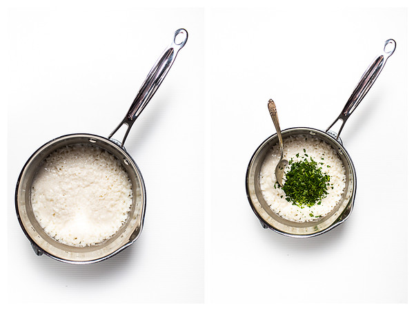 Two photos showing cooked rice and cilantro added to cooked rice.