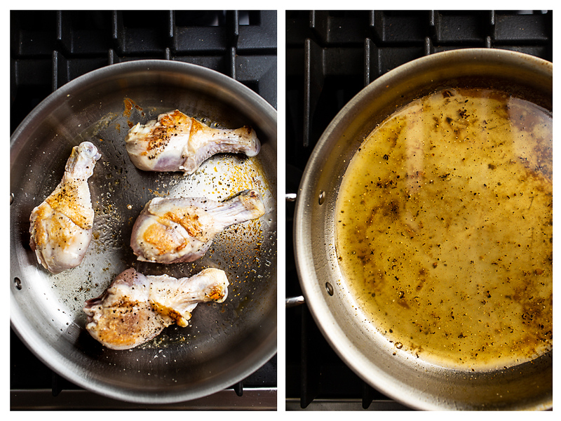 Photo collage showing chicken browned in pan and then pan being deglazed with chicken stock.