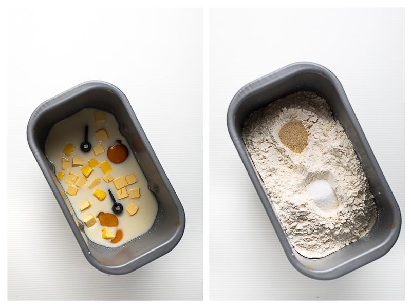 Photo collage showing liquid bread machine ingredients and then dry bread machine ingredients.